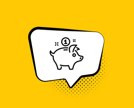 Saving money line icon. Comic speech bubble. Piggy bank sign. Yellow background with chat bubble. Saving money icon. Colorful banner. Vector