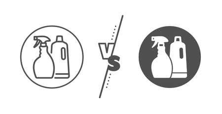 Washing liquid or Cleanser symbol. Versus concept. Cleaning spray and Shampoo line icon. Housekeeping equipment sign. Line vs classic shampoo and Spray icon. Vector