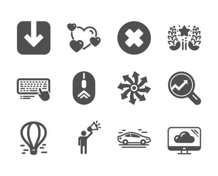 Set of Technology icons, such as Versatile, Analytics, Brand ambassador, Car, Swipe up, Close button, Computer keyboard, Ranking, Heart, Cloud storage, Load document, Air balloon. Vector Illustration