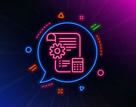 Settings blueprint line icon. Neon laser lights. Engineering cogwheel tool sign. Cog gear symbol. Glow laser speech bubble. Neon lights chat bubble. Banner badge with settings blueprint icon. Vector Фото со стока - 133848905