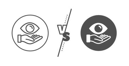 Oculist clinic sign. Versus concept. Eye care line icon. Optometry vision symbol. Line vs classic health eye icon. Vector