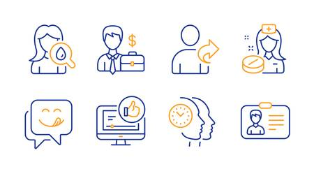 Like video, Refer friend and Moisturizing cream line icons set. Nurse, Businessman case and Yummy smile signs. Time management, Identification card symbols. Thumbs up, Share. People set. Vector