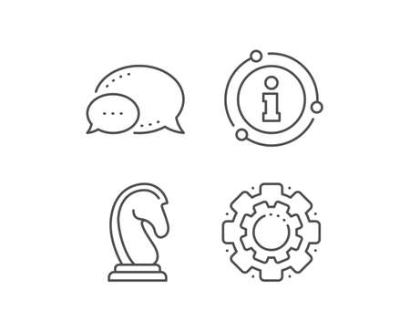 Chess Knight line icon. Chat bubble, info sign elements. Marketing strategy symbol. Business targeting sign. Linear marketing strategy outline icon. Information bubble. Vector