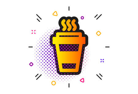 Hot drink sign. Halftone circles pattern. Takeaway Coffee cup icon. Takeout symbol. Classic flat takeaway icon. Vector 向量圖像