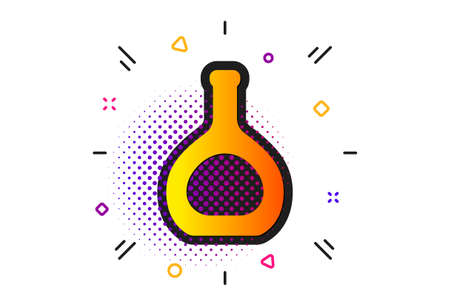 Brandy alcohol sign. Halftone circles pattern. Cognac bottle icon. Classic flat cognac bottle icon. Vector