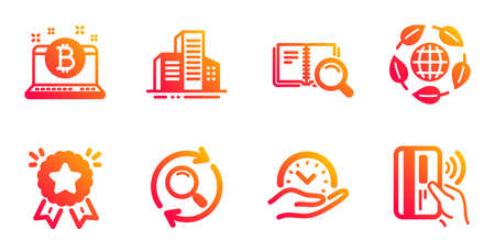 Bitcoin, Ranking star and Buildings line icons set. Search, Safe time and Eco organic signs. Search book, Contactless payment symbols. Cryptocurrency laptop, Winner medal. Business set. Vector Çizim