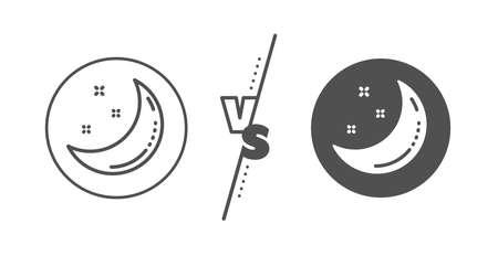 Night sign. Versus concept. Moon and stars line icon. Sleep symbol. Line vs classic moon stars icon. Vector 向量圖像