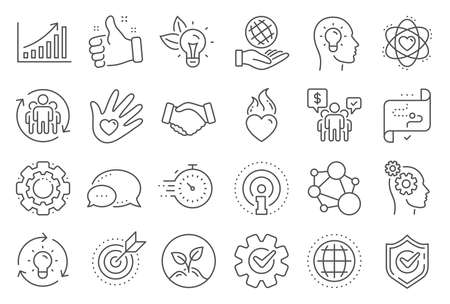 Core values line icons. Integrity, Target purpose and Strategy. Trust handshake, social responsibility, commitment goal icons. Growth chart, innovation, core values network. Line signs set. Vector Ilustrace