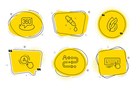 Ab testing, 360 degree and Computer keyboard signs. Chat bubbles. Journey path, Hypoallergenic tested and Chemistry pipette line icons set. Project process, Feather, Laboratory. A test. Vector