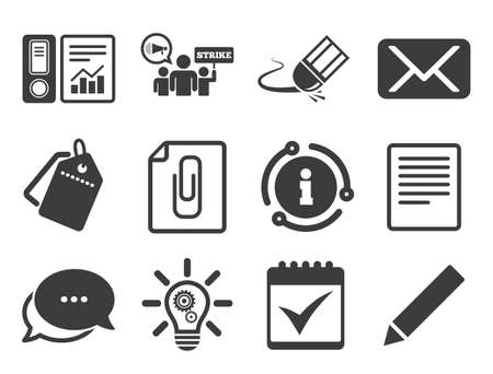 Accounting, strike and calendar signs. Discount offer tag, chat, info icon. Office, documents and business icons. Mail, ideas and statistics symbols. Classic style signs set. Vector