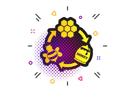 Producing honey and beeswax sign icon. Halftone dots pattern. Honeycomb cells symbol. Honey in pot. Sweet natural food cycle in nature. Classic flat honeycomb icon. Vector