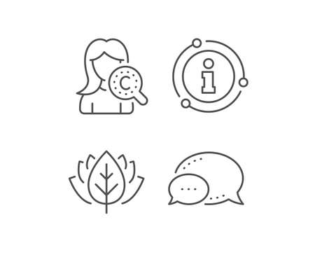 Collagen skin line icon. Chat bubble, info sign elements. Cream care sign. Cosmetic lotion symbol. Linear collagen skin outline icon. Information bubble. Vector