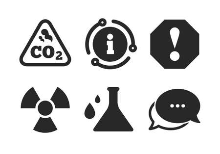 Chemistry flask sign. Chat, info sign. Attention and radiation icons. CO2 carbon dioxide symbol. Classic style speech bubble icon. Vector