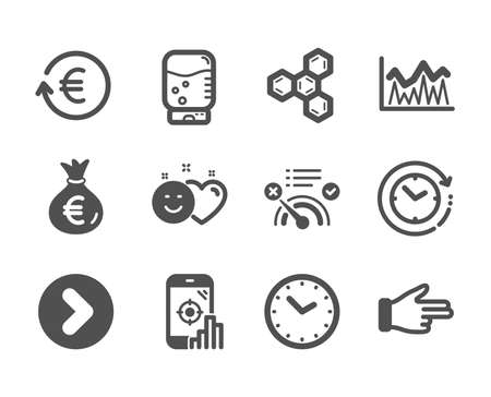 Set of Business icons, such as Money bag, Seo phone, Smile, Click hand, Forward, No internet, Time, Chemical formula, Exchange currency, Investment, Water cooler, Time change. Money bag icon. Vector Reklamní fotografie - 133849044
