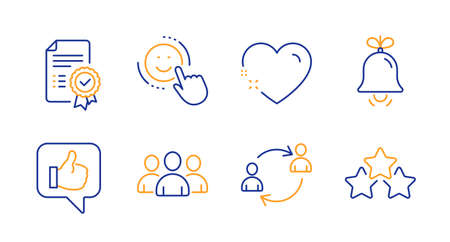 Group, Like and Smile line icons set. Heart, Bell and Certificate signs. User communication, Ranking stars symbols. Group of users, Thumbs up. Business set. Line group icon. Vector  イラスト・ベクター素材