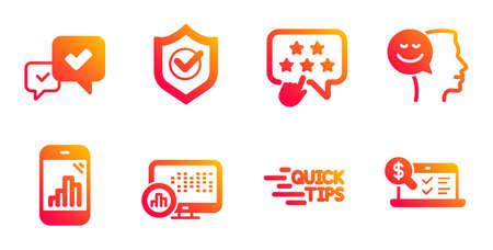 Good mood, Graph phone and Approve line icons set. Ranking star, Report statistics and Approved shield signs. Education, Online accounting symbols. Positive thinking, Mobile statistics. Vector Illusztráció