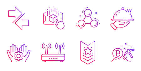 Chemistry molecule, Synchronize and Restaurant food line icons set. Wifi, Employee hand and Augmented reality signs. Shoulder strap, Bitcoin mining symbols. Gradient chemistry molecule icon. Vector