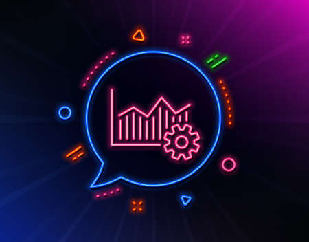 Operational excellence line icon. Neon laser lights. Cogwheel sign. Glow laser speech bubble. Neon lights chat bubble. Banner badge with operational excellence icon. Vector Фото со стока - 133849070
