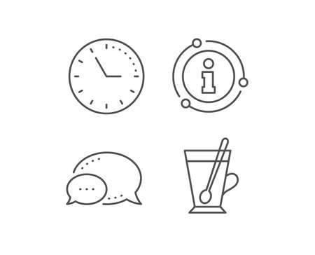Cup with spoon line icon. Chat bubble, info sign elements. Fresh beverage sign. Latte or Coffee symbol. Linear tea mug outline icon. Information bubble. Vector