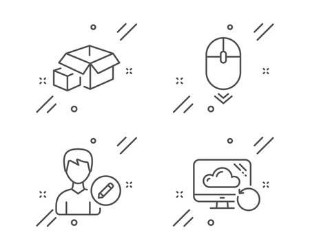 Modifica persona, Scorri verso il basso e Set di icone della linea di scatole di imballaggio. Segno della nuvola di recupero. Modifica informazioni utente, scorrimento del mouse, pacco di consegna. Informazioni di backup. Insieme di tecnologia. Icona di contorno della persona di modifica della linea. Vettore Vettoriali