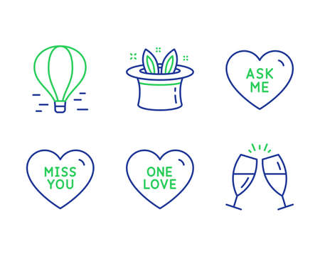 Ask me, Air balloon and Miss you line icons set. One love, Hat-trick and Champagne glasses signs. Love sweetheart, Flight travel, Sweet heart. Magic hat. Holidays set. Vector Illusztráció