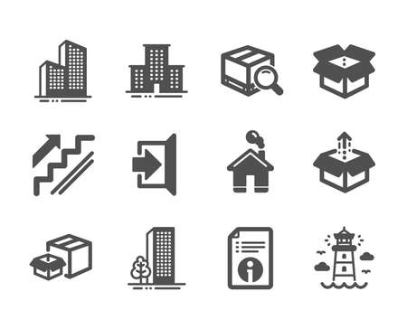 Set of Industrial icons, such as Home, Lighthouse, Technical info, Buildings, Exit, Skyscraper buildings, Stairs, University campus, Send box, Packing boxes, Search package, Open box. Vector Ilustrace