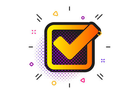 Approved Tick sign. Halftone circles pattern. Check icon. Confirm, Done or Accept symbol. Classic flat checkbox icon. Vector Ilustração