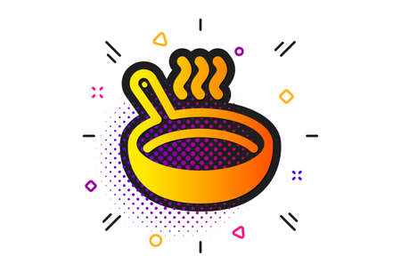Cooking sign. Halftone circles pattern. Frying pan icon. Food preparation symbol. Classic flat frying pan icon. Vector