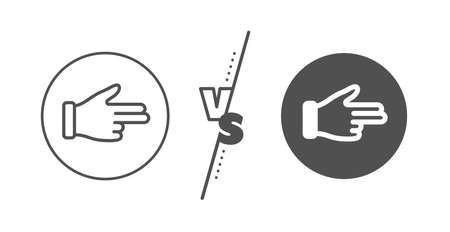 Two fingers palm sign. Versus concept. Click hand line icon. Direction gesture symbol. Line vs classic click hand icon. Vector