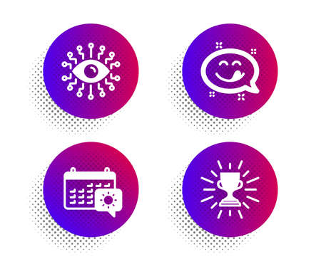 Yummy smile, Artificial intelligence and Travel calendar icons simple set. Halftone dots button. Trophy sign. Emoticon, All-seeing eye, Trip planning. Winner cup. Business set. Vector