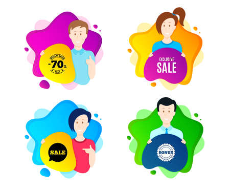 Exclusive Sale. People shape offer badge. Special offer price sign. Advertising Discounts symbol. Dynamic shape offer. Worker person badge. Cut out people coupon. Exclusive sale text. Vector