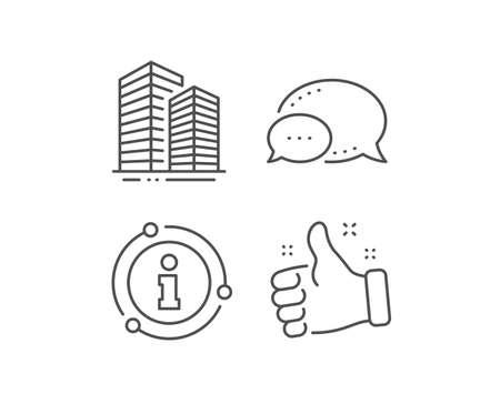 Skyscraper buildings line icon. Chat bubble, info sign elements. City architecture sign. Town symbol. Linear skyscraper buildings outline icon. Information bubble. Vector Standard-Bild - 133849198