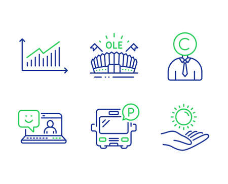 Graph, Copyrighter and Smile line icons set. Sports arena, Bus parking and Sun protection signs. Presentation diagram, Writer person, Laptop feedback. Event stadium. Business set. Vector