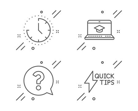 Conjunto de iconos de línea de educación de tiempo, signo de interrogación y sitio web. Señal de guía de inicio rápido. Reloj, soporte de ayuda, aprendizaje en video. Símbolo de un rayo. Conjunto de educación. Icono de contorno de tiempo de línea. Vector Ilustración de vector