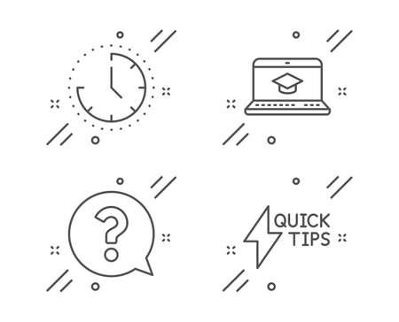 L'heure, le point d'interrogation et les icônes de ligne d'éducation de site Web sont définies. Signe de guide de démarrage rapide. Horloge, assistance, apprentissage vidéo. Symbole de la foudre. Ensemble d'éducation. Icône de contour de temps de ligne. Vecteur Vecteurs