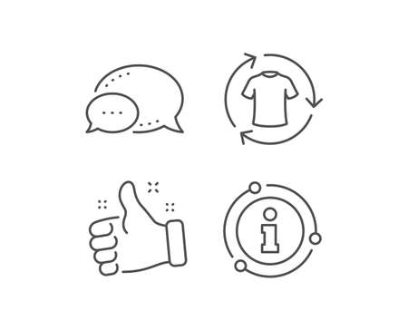 Change clothes line icon. Chat bubble, info sign elements. Shirt sign. Clothing t-shirt symbol. Linear change clothes outline icon. Information bubble. Vector