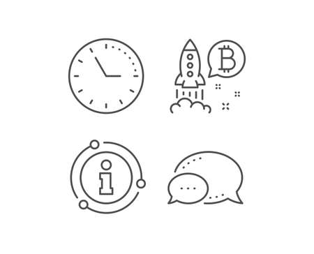 Bitcoin line icon. Chat bubble, info sign elements. Cryptocurrency startup sign. Crypto rocket symbol. Linear bitcoin project outline icon. Information bubble. Vector Çizim