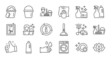 Cleaning line icons. Laundry, Window sponge and Vacuum cleaner. Washing machine linear icon set. Quality line set. Vector Stock Illustratie