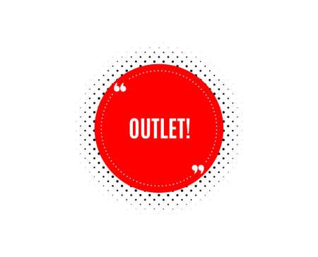 Outlet symbol. Banner badge, offer sticker. Special offer price sign. Advertising discounts. Outlet banner. Sticker badge. Vector