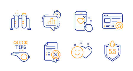 Smile, Reject certificate and Heart rating line icons set. Statistics timer, Favorite and Chemistry beaker signs. Tutorials, Ph neutral symbols. Social media like, Decline file. Vector