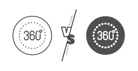 Panoramic view sign. Versus concept. 360 degrees line icon. VR technology simulation symbol. Line vs classic 360 degrees icon. Vector