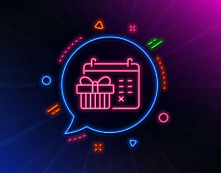 Christmas calendar line icon. Neon laser lights. New year presents day sign. Surprise symbol. Glow laser speech bubble. Neon lights chat bubble. Banner badge with christmas calendar icon. Vector Illustration