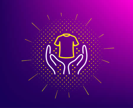 Hold t-shirt line icon. Halftone pattern. Laundry shirt sign. Clothing cleaner symbol. Gradient background. Hold t-shirt line icon. Yellow halftone pattern. Vector