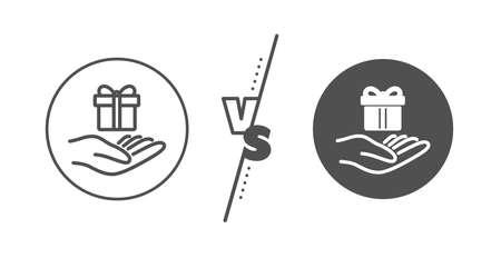 Gift box sign. Versus concept. Loyalty program line icon. Present symbol. Line vs classic loyalty program icon. Vector Illustration