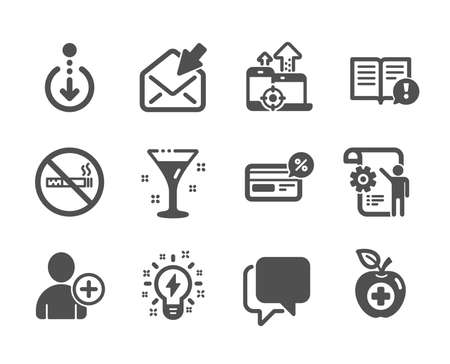 Set of Business icons, such as No smoking, Facts, Inspiration, Open mail, Cocktail, Seo devices, Medical food, Add user, Cashback, Talk bubble, Scroll down, Settings blueprint. No smoking icon. Vector Фото со стока - 133849327