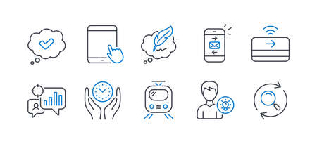 Set of Technology icons, such as Person idea, Copyright chat, Seo statistics, Tablet pc, Train, Mail, Contactless payment, Approved, Safe time, Search line icons. Lamp energy, Speech bubble. Vector