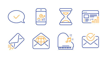 Time, Web mail and E-mail line icons set. Approved message, Piano and Smartphone statistics signs. Web report, Approved mail symbols. Clock, World communication. Education set. Line time icon. Vector