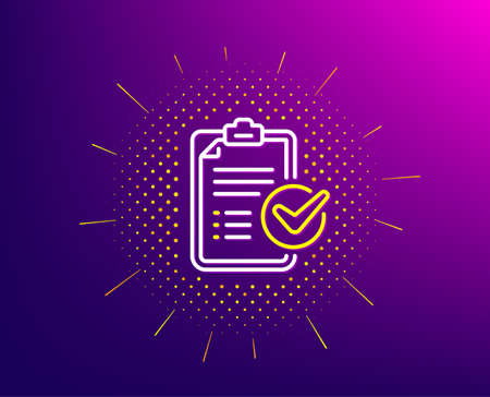 Survey checklist line icon. Halftone pattern. Report sign. Business review symbol. Gradient background. Survey checklist line icon. Yellow halftone pattern. Vector