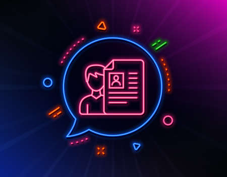 Business recruitment line icon. Neon laser lights. CV documents or Portfolio sign. Glow laser speech bubble. Neon lights chat bubble. Banner badge with job interview icon. Vector Ilustracja