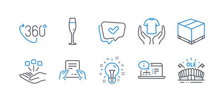 Set of Business icons, such as Online documentation, Champagne glass, Hold t-shirt, Delivery box, Idea, Approved, 360 degree, Consolidation, Receive file, Sports arena line icons. Vector Stock Illustratie